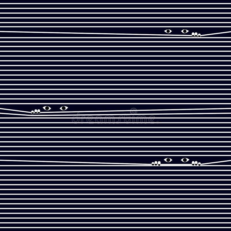 Πολύς λόρδος ματιών μέσω της κουρτίνας του παραθύρου απεικόνιση αποθεμάτων