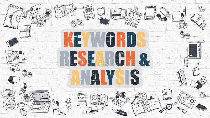 Πολύχρωμες έρευνα και ανάλυση λέξεων κλειδιών σε άσπρο Brickwall διανυσματική απεικόνιση
