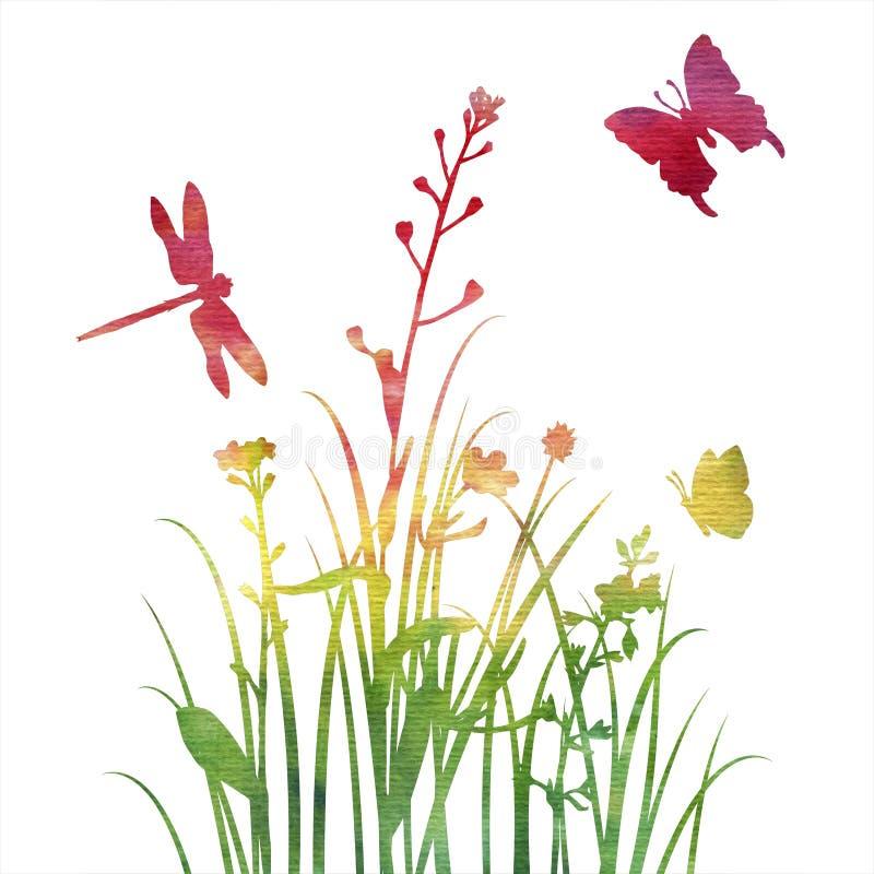 Πολύχρωμες σκιαγραφίες των λουλουδιών και της χλόης με τις πεταλούδες απεικόνιση αποθεμάτων