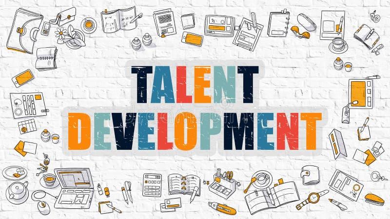 Πολύχρωμη ανάπτυξη ταλέντου σε άσπρο Brickwall Ύφος Doodle διανυσματική απεικόνιση