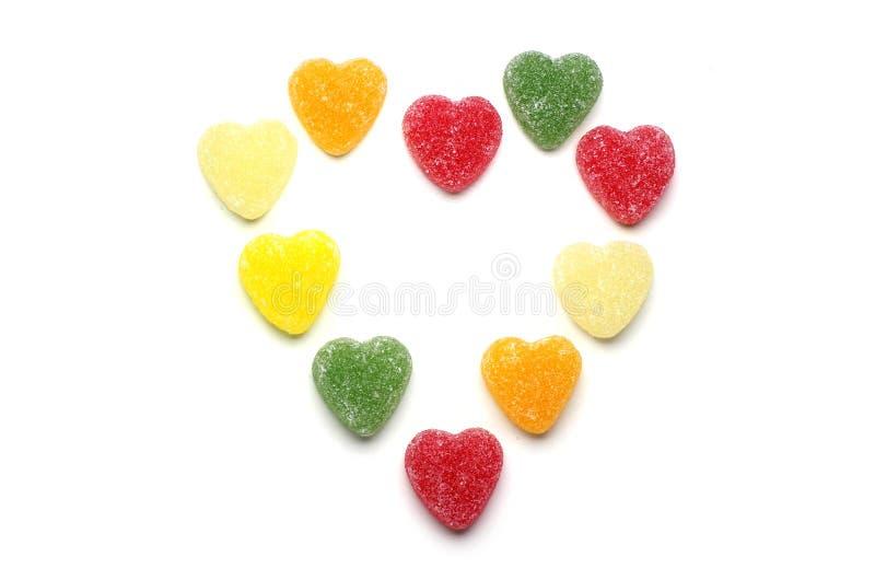 Πολύχρωμη καραμέλα καρδιών στοκ φωτογραφία