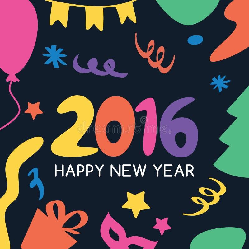 Πολύχρωμη συρμένη χέρι νέα ευχετήρια κάρτα έτους 2016 τα εύκολα εικονίδια ανασκόπησης αντικαθιστούν το διαφανές διάνυσμα σκιών απεικόνιση αποθεμάτων