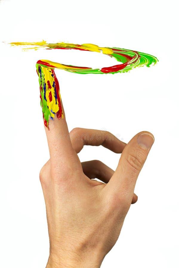 Χρωματισμένη ζωγραφική δάχτυλων στον αέρα στοκ εικόνες