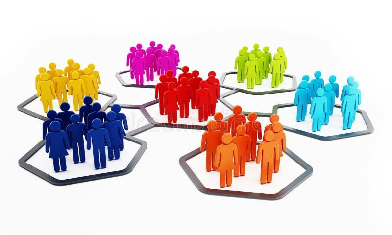 Πολύχρωμοι άνθρωποι hexagons συνημμένα ο ένας στον άλλο διανυσματική απεικόνιση