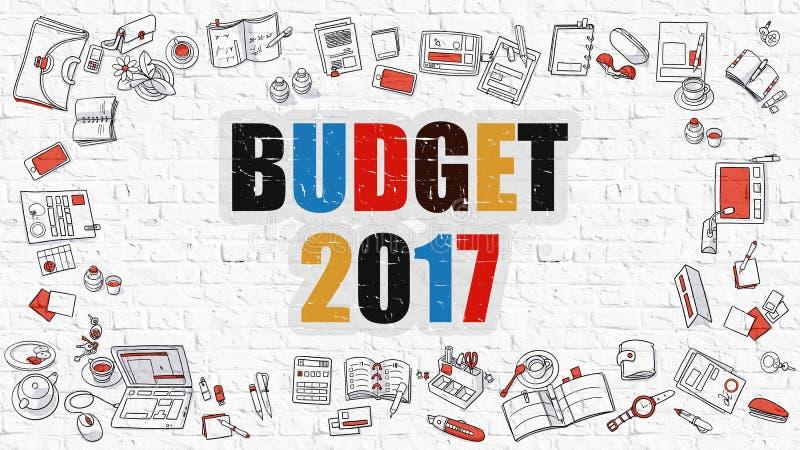 Πολύχρωμος προϋπολογισμός 2017 σε άσπρο Brickwall Ύφος Doodle απεικόνιση αποθεμάτων