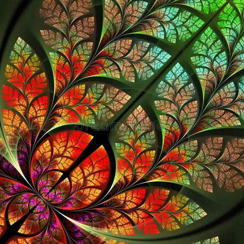 Πολύχρωμο μυθικό fractal σχέδιο. Συλλογή - φύλλωμα δέντρων. διανυσματική απεικόνιση
