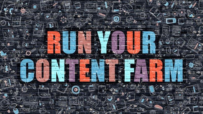 Πολύχρωμο τρέξιμο το αγρόκτημα περιεχομένου σας σε σκοτεινό Brickwall ελεύθερη απεικόνιση δικαιώματος
