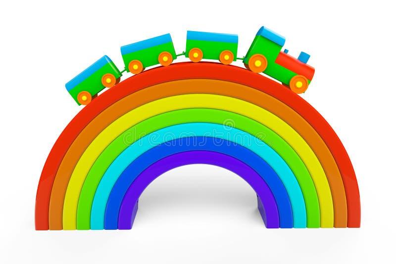 Πολύχρωμο τραίνο παιχνιδιών πέρα από τη γέφυρα ουράνιων τόξων ελεύθερη απεικόνιση δικαιώματος