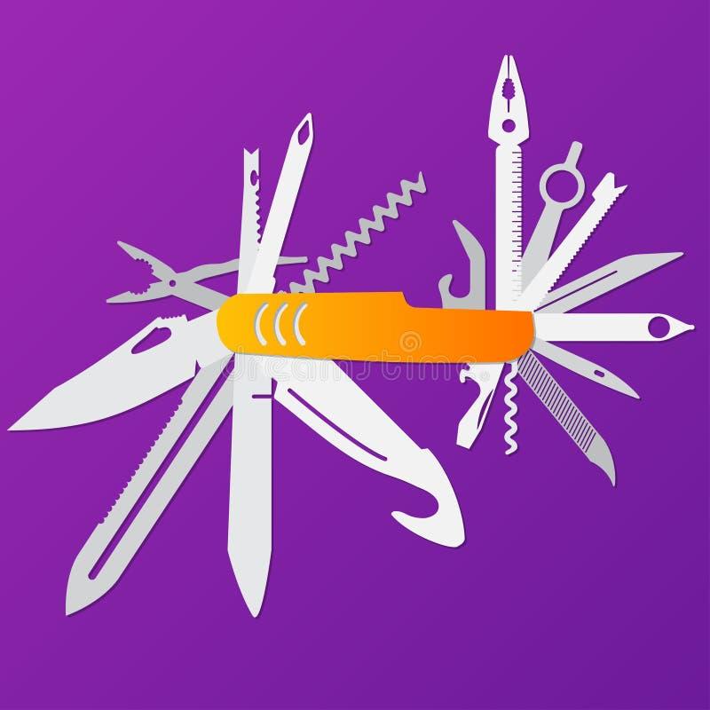 Πολλών χρήσεων επίπεδη απεικόνιση μαχαιριών, ελβετικό μαχαίρι, για πολλές χρήσεις penknife, διάνυσμα μαχαιριών στρατού απεικόνιση αποθεμάτων