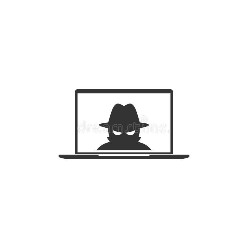 Πράκτορας κατασκόπων στο εικονίδιο lap-top στο απλό σχέδιο r διανυσματική απεικόνιση