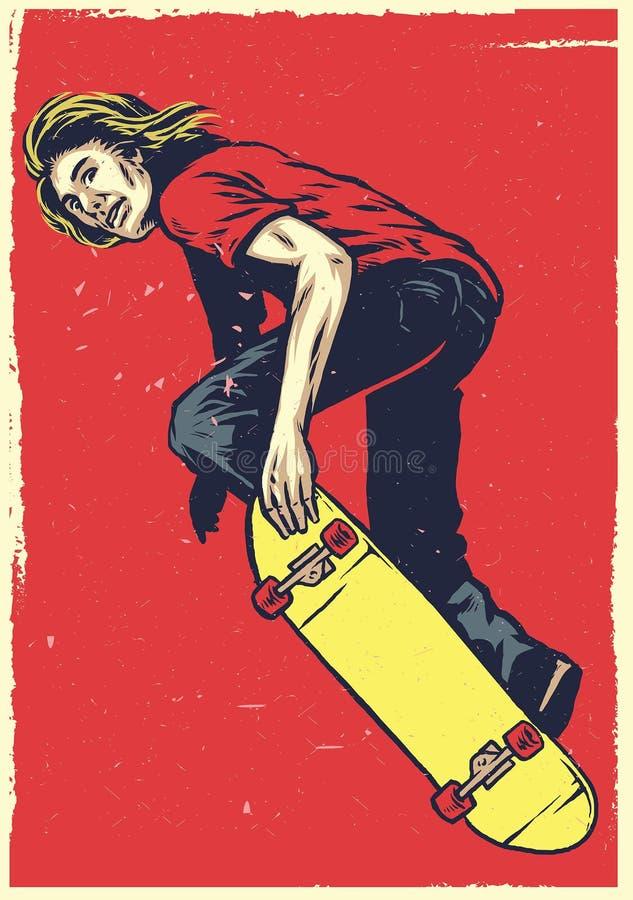 Πράξη σκέιτερ στο skateboard διαθέσιμο ύφος σχεδίων χεριών ελεύθερη απεικόνιση δικαιώματος