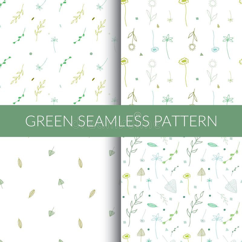 Πράσινα άνευ ραφής πρότυπα Τα σχέδια με το χέρι στοκ εικόνες με δικαίωμα ελεύθερης χρήσης