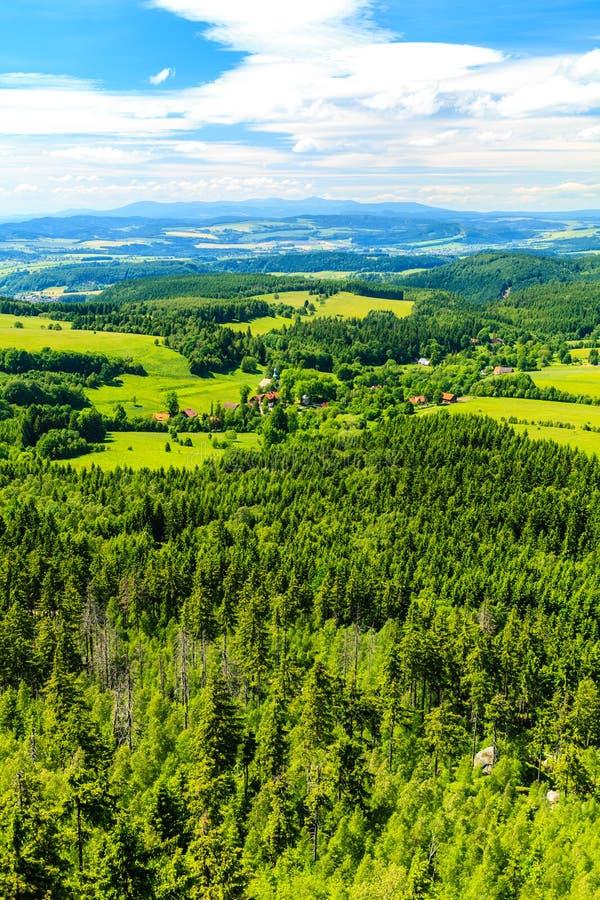 Πράσινα δάσος και βουνά θερινών εμπνευσμένα τοπίων στοκ εικόνες