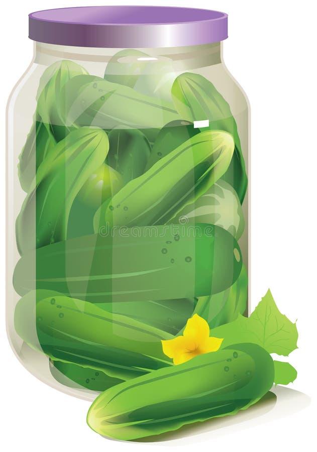 Πράσινα αγγούρια σε ένα βάζο απεικόνιση αποθεμάτων