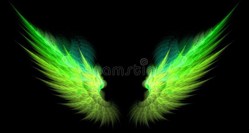 πράσινα αιχμηρά φτερά κίτρινα διανυσματική απεικόνιση