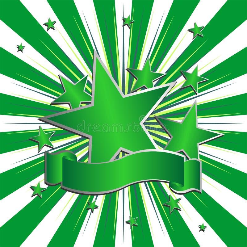 πράσινα αστέρια κορδελλώ&n διανυσματική απεικόνιση