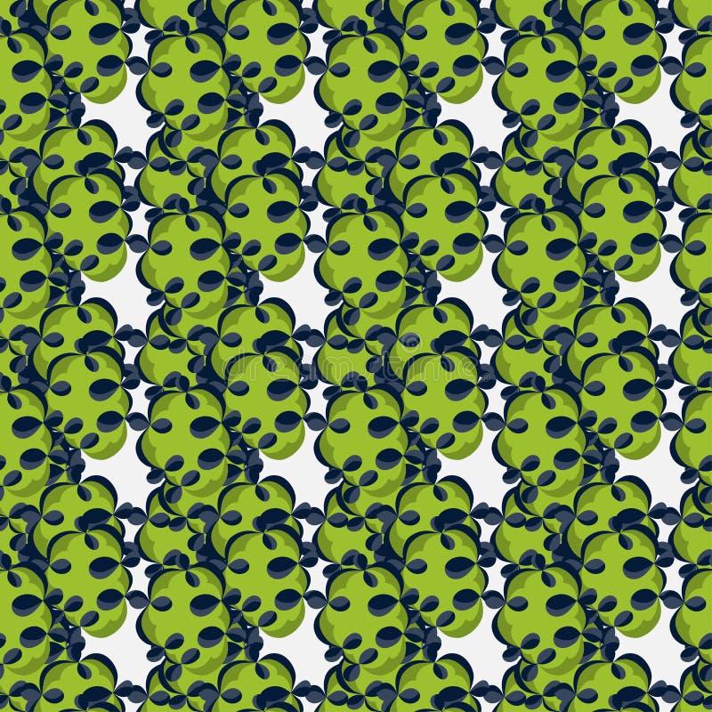 Πράσινα αφηρημένα αντικείμενα σε μια άσπρη διανυσματική απεικόνιση σχεδίων υποβάθρου άνευ ραφής ελεύθερη απεικόνιση δικαιώματος