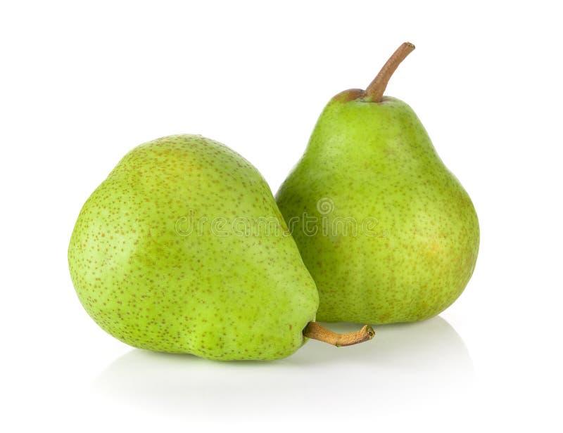 Πράσινα αχλάδια που απομονώνονται στο άσπρο υπόβαθρο στοκ εικόνες