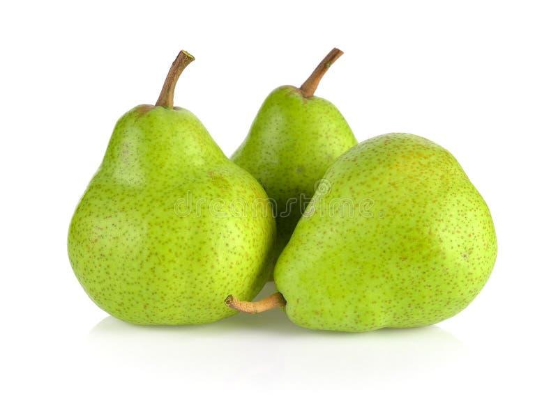 Πράσινα αχλάδια που απομονώνονται στο άσπρο υπόβαθρο στοκ φωτογραφία