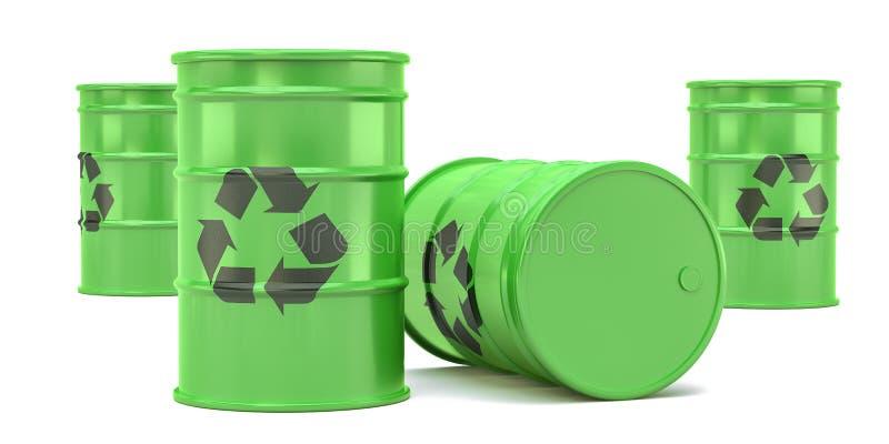 Πράσινα βαρέλια αποβλήτων ανακύκλωσης που απομονώνονται στο άσπρο υπόβαθρο r απεικόνιση αποθεμάτων