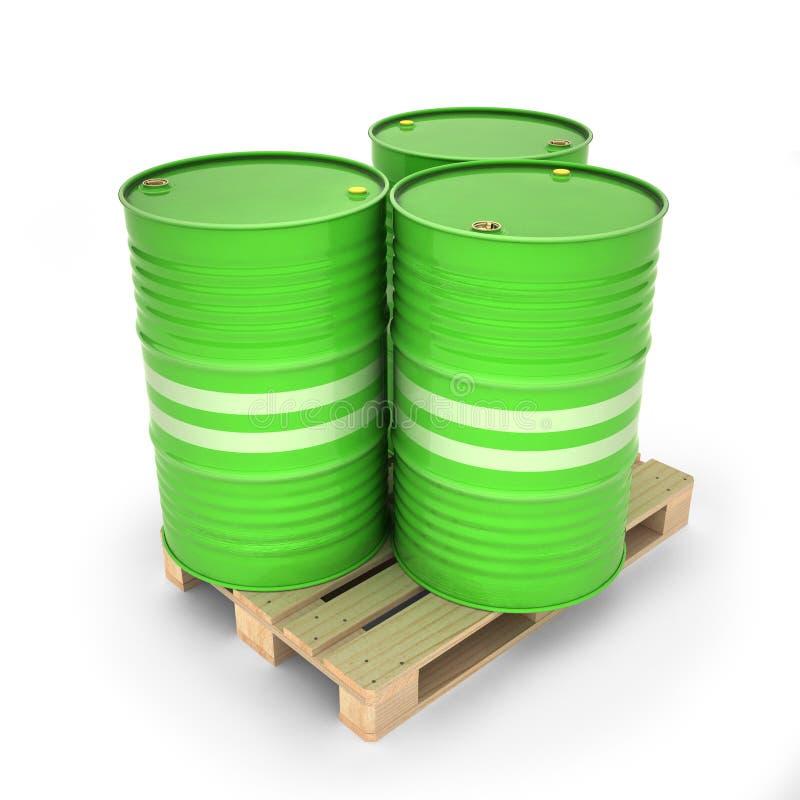 Πράσινα βαρέλια σε μια παλέτα ελεύθερη απεικόνιση δικαιώματος