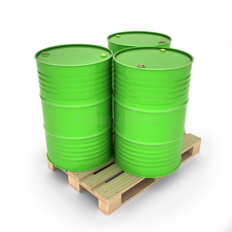 Πράσινα βαρέλια σε μια παλέτα απεικόνιση αποθεμάτων