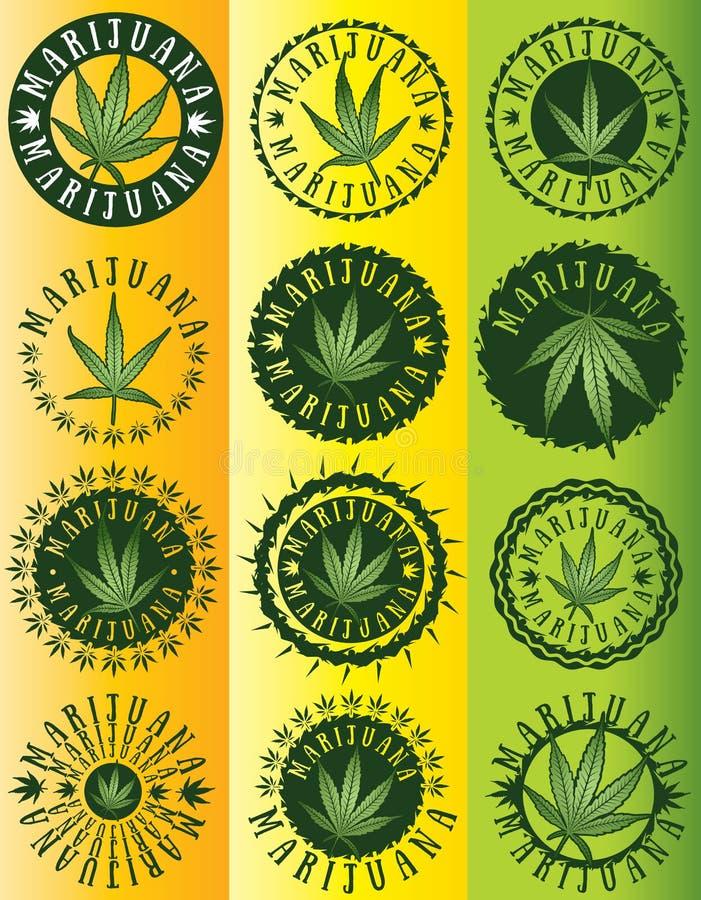 Πράσινα γραμματόσημα συμβόλων φύλλων μαριχουάνα καννάβεων ελεύθερη απεικόνιση δικαιώματος