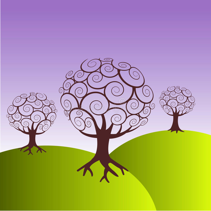 πράσινα δέντρα λόφων απεικόνιση αποθεμάτων
