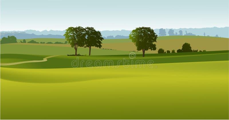 πράσινα δέντρα τοπίων διανυσματική απεικόνιση