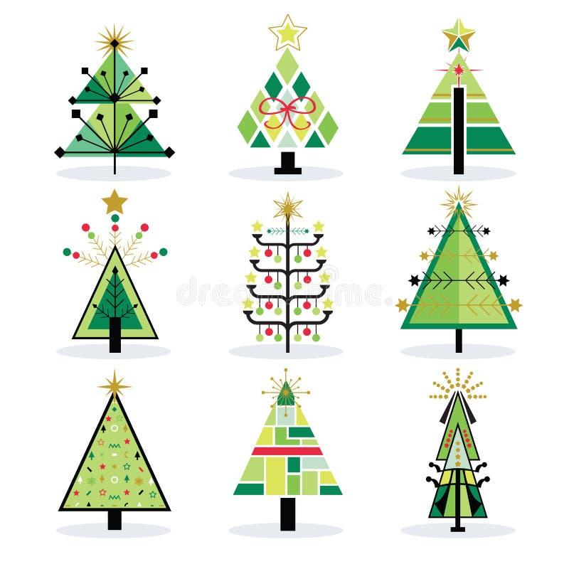 Πράσινα διακοπές πεύκων και εικονίδια χριστουγεννιάτικων δέντρων καθορισμένα ελεύθερη απεικόνιση δικαιώματος