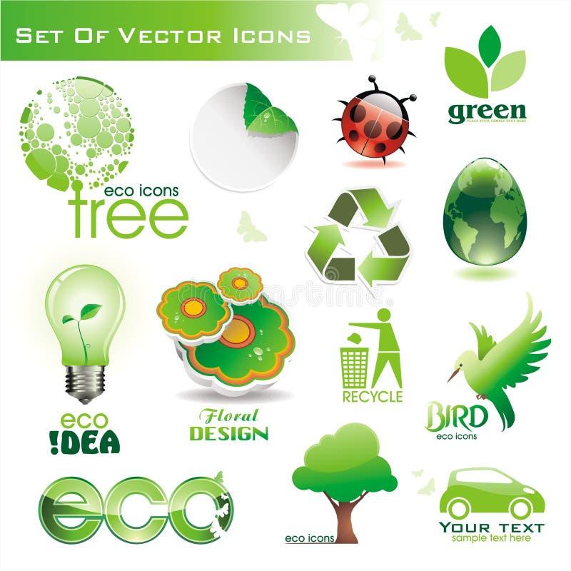 πράσινα εικονίδια eco συλλ&o στοκ εικόνες με δικαίωμα ελεύθερης χρήσης
