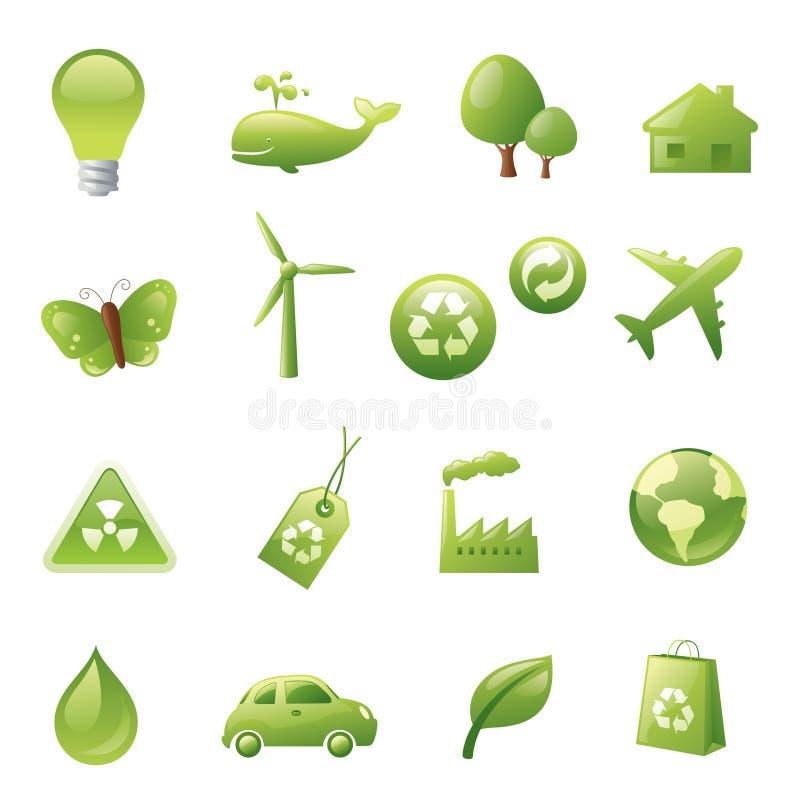 Πράσινα εικονίδια ελεύθερη απεικόνιση δικαιώματος