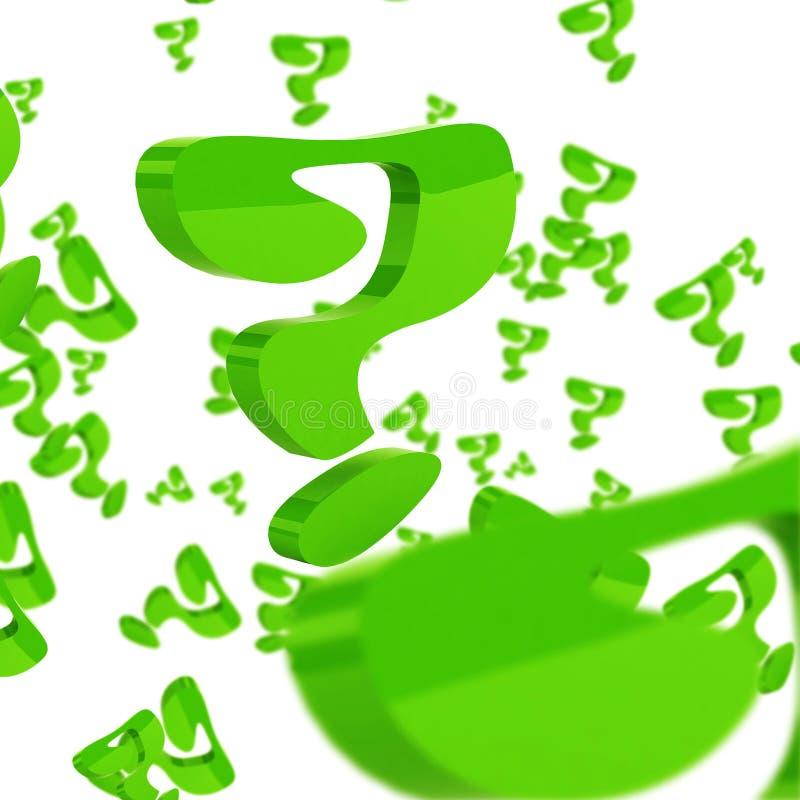 Πράσινα ερωτηματικά πέρα από το άσπρο υπόβαθρο στοκ εικόνες