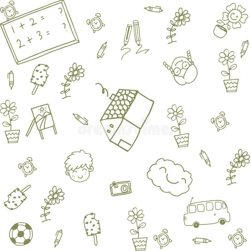 Πράσινα ευτυχή παιδιά σπιτιών doodle διανυσματική απεικόνιση