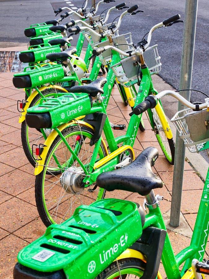 Πράσινα ε-ποδήλατα ασβέστη που σταθμεύουν στο πεζοδρόμιο, Σίδνεϊ, Αυστραλία στοκ φωτογραφία με δικαίωμα ελεύθερης χρήσης