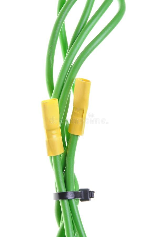 Πράσινα ηλεκτρικά καλώδια με τα τερματικά στοκ φωτογραφίες με δικαίωμα ελεύθερης χρήσης
