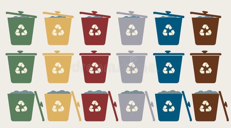 Πράσινα, κίτρινα, κόκκινα, μπλε και άσπρα ανακύκλωσης δοχεία με το ανακύκλωσης σύμβολο Το διανυσματικό δοχείο απορριμμάτων απορρι διανυσματική απεικόνιση