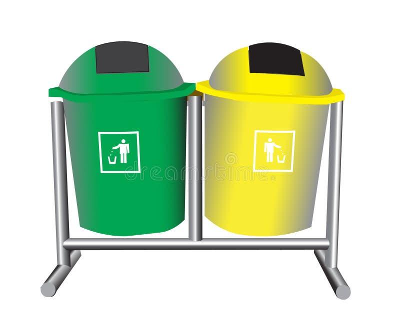 Πράσινα και κίτρινα διανύσματα απορριμμάτων απεικόνιση αποθεμάτων