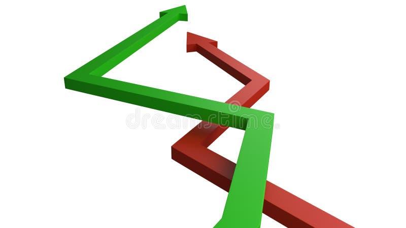Πράσινα και κόκκινα βέλη που αντιπροσωπεύουν τα κυμαινόμενες κέρδη και τις απώλειες στους πόρους χρηματοδότησης οικονομίας ή επιχ απεικόνιση αποθεμάτων