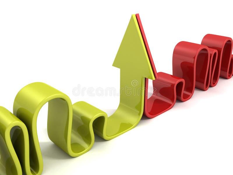 Πράσινα και κόκκινα καμμμένα αντίπαλος βέλη διανυσματική απεικόνιση