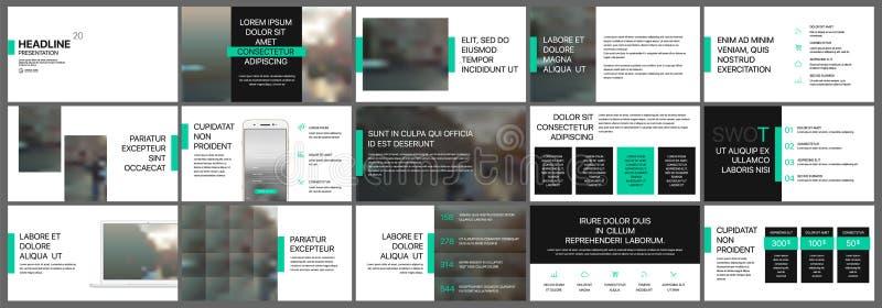 Πράσινα και μαύρα στοιχεία προτύπων παρουσίασης διανυσματική απεικόνιση