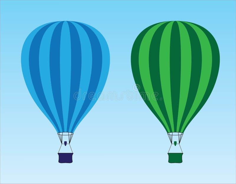 Πράσινα και μπλε μπαλόνια ζεστού αέρα που πετούν στον ουρανό διανυσματική απεικόνιση