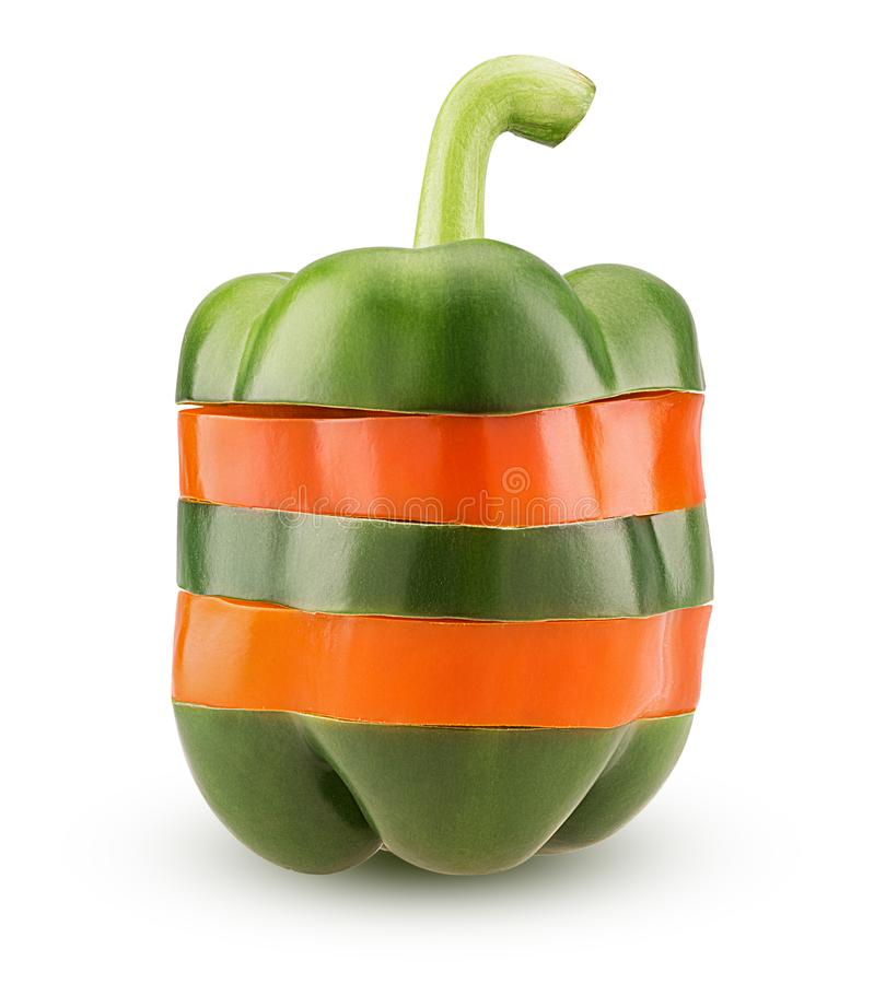 Πράσινα και πορτοκαλιά πιπέρια κουδουνιών φετών στοκ φωτογραφίες