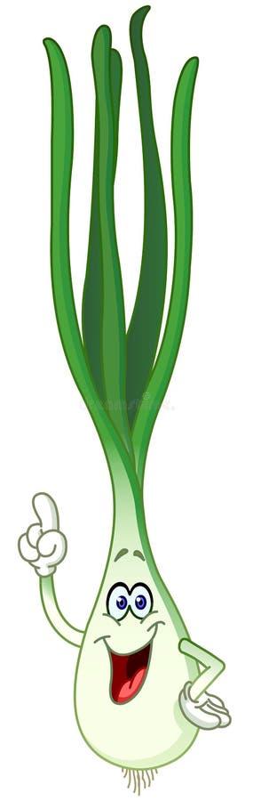 Πράσινα κινούμενα σχέδια κρεμμυδιών ελεύθερη απεικόνιση δικαιώματος