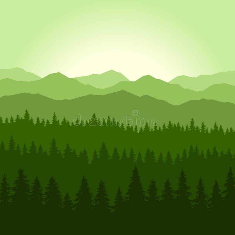 Πράσινα κωνοφόρα δάσος ομίχλης και υπόβαθρο βουνών διάνυσμα απεικόνιση αποθεμάτων