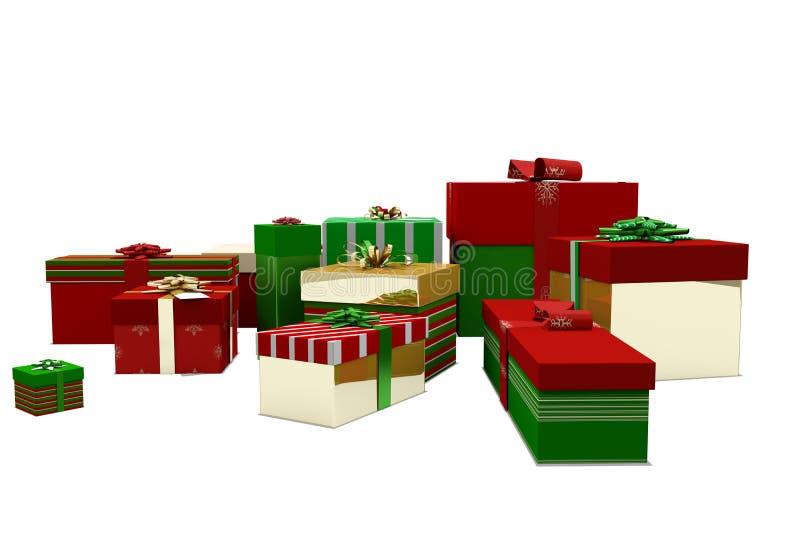 Πράσινα κόκκινα και χρυσά δώρα Χριστουγέννων απεικόνιση αποθεμάτων