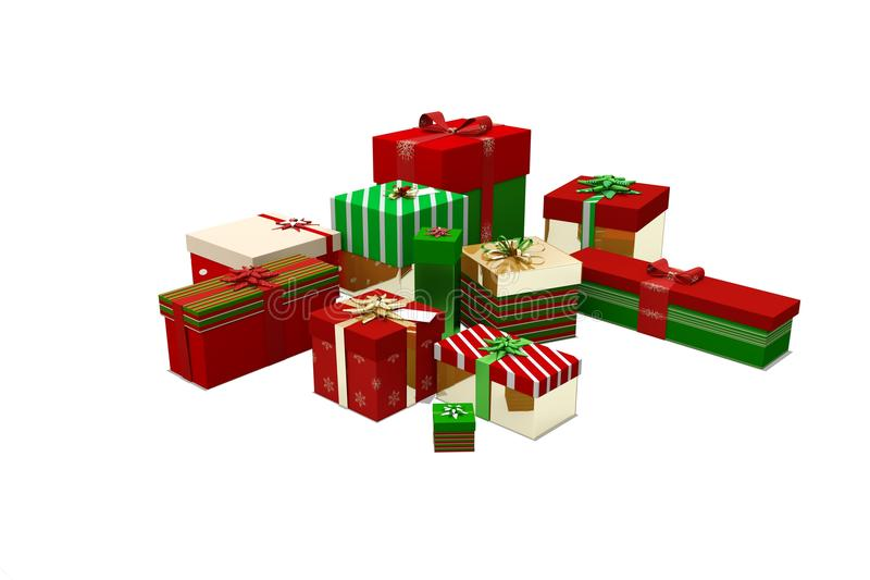 Πράσινα κόκκινα και χρυσά δώρα Χριστουγέννων ελεύθερη απεικόνιση δικαιώματος