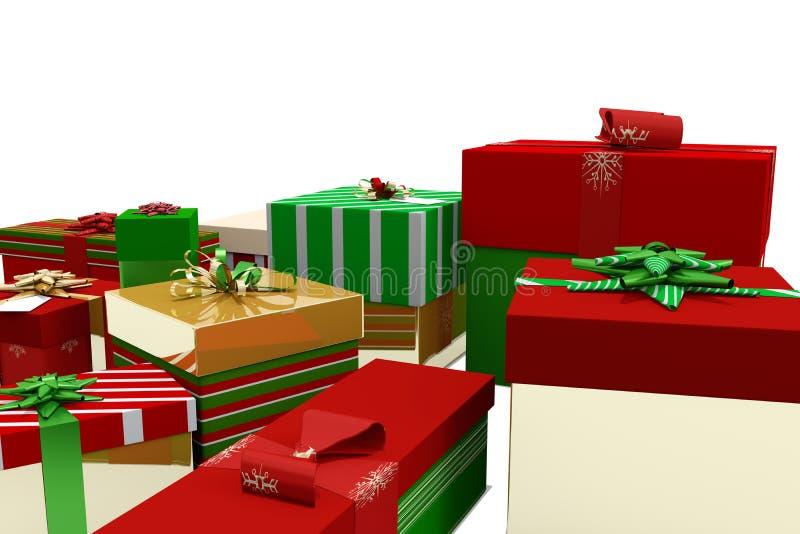 Πράσινα κόκκινα και χρυσά δώρα Χριστουγέννων διανυσματική απεικόνιση