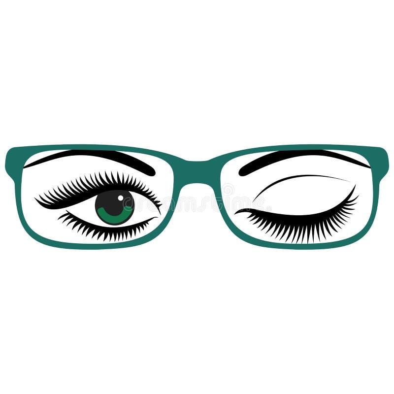Πράσινα μάτια των όμορφων γυναικών με τα γυαλιά διανυσματική απεικόνιση