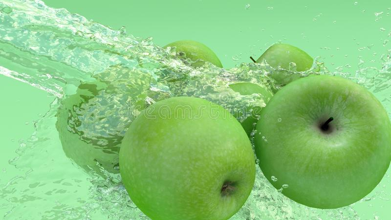 Πράσινα μήλα κάτω από ένα ρεύμα του νερού με τα ίχνη διαφανών φυσαλίδων σε ένα πράσινο υπόβαθρο τρισδιάστατη απόδοση στοκ εικόνα με δικαίωμα ελεύθερης χρήσης